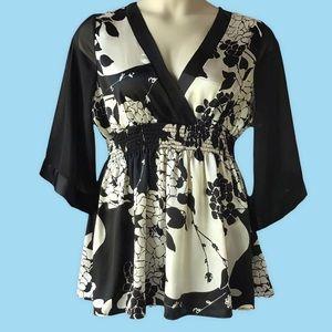 Janette Plus Black & White Babydoll Top Size 2xl